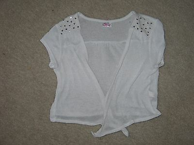 Girls Size 10 JUSTICE White Lightweight Shrug Sweater EUC