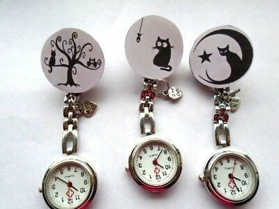 Nurse Watch Black Cat Round Square Glass Cabochon Tibetan Charm Paw I love Kitty