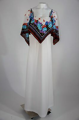LANE BRYANT Vtg 70s White Floral Dress Maxi Cape Hippie Festive Garden Sz M L