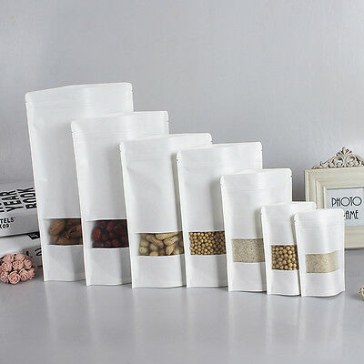 Matte Window Zip lock Bags White Stand Up Kraft Paper Food Pouch *VARIOUS SIZES*
