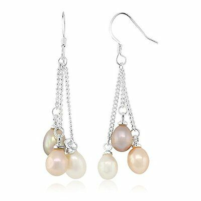 "Excellent 3-Color Cultured Freshwater Pearl Dangle Earrings 1.5"" Mother's Gift"