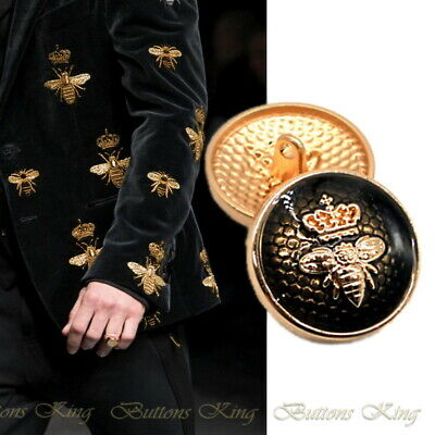 Set 8 pieces Metal Gold & Black Bee Crown Art buttons size 23mm.