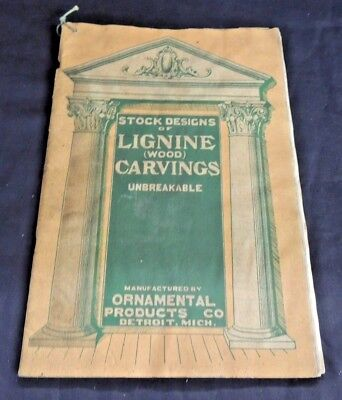 Vtg Lignine Wood Carvings Stock Designs Catalog Ornamental Products Detroit WOW