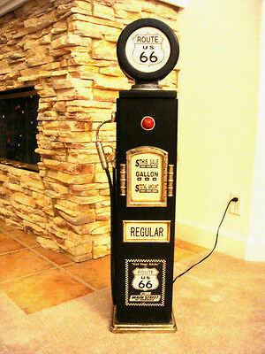 "42""Route 66 Black Gas Pump Cabinet with light. Man Cave/Gameroom Decor."