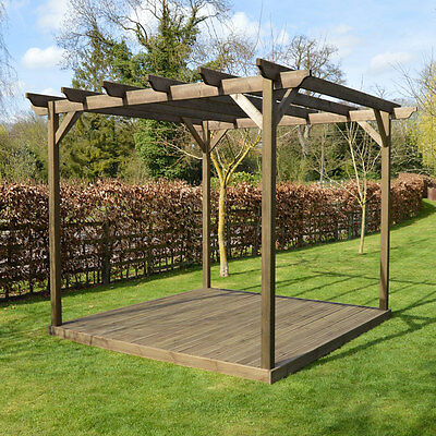 Wooden Pergola and Decking Kit - 3 sizes available