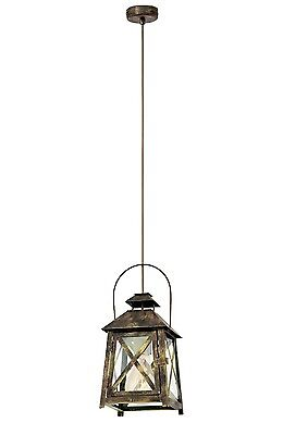Eglo 49347 Redford Single Pendant Stainless Steel/Gold Red Finish