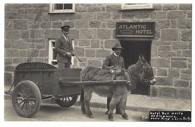 SCILLY ISLES Atlantic Hotel, Donkey 'Bus' Meets all Steamers, RP Postcard Unused