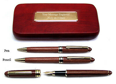 3 ROSEWOOD PENS WOOD CASE Fountain Pen Ballpoint Pencil Set New PERSONALISED