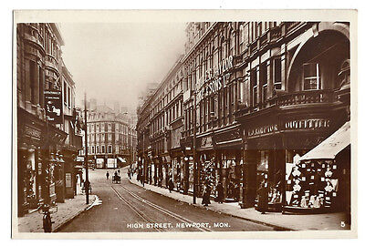 NEWPORT High Street, Monmouthshire, RP Postcard, Unused