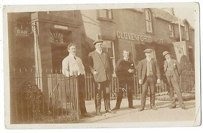CLOVENFORDS Gents Outside the Hotel, RP Postcard Postally Used 1919