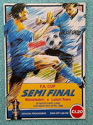 1988 - FA CUP SEMI FINAL PROGRAMME - WIMBLEDON v LUTON TOWN - V.G CONDITION
