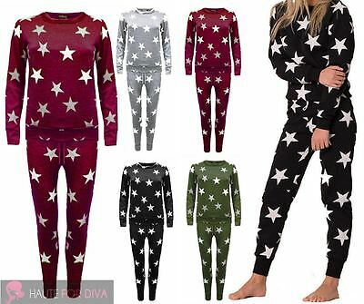 New Ladies Star Print Lounge Wear Tracksuit Kids And Plus Size Available