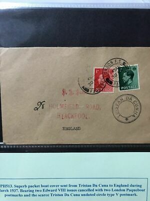 London To Tristan Da Cunha 1937 Paqueboat Cover 3 Postmarks (see pics)