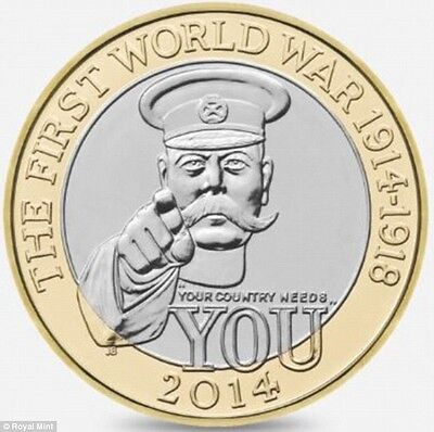 "Rare £2 Two Pound Coin Lord Kitchener Un-readable ""Your Country Needs You"" 2014"
