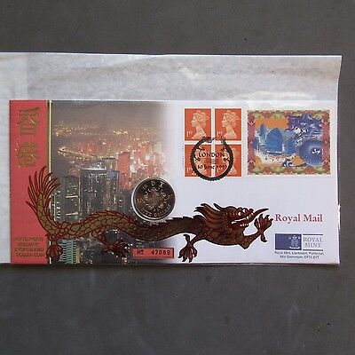 G.B Hong Kong Brilliant Uncirculated 5 Dollar Coin Cover 10/06/97