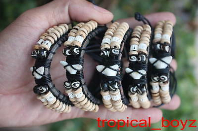 5 SHARK TOOTH Pale Coconut Beads Black Bone Leather Bracelets Wholesale Lot