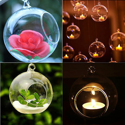 Hanging Crystal Glass Candle Holder Candlestick Romantic Wedding Dinner Decor E9
