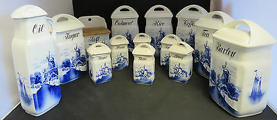 Antique German Blue White Delft 14 pieces INGE Canister Spice Set