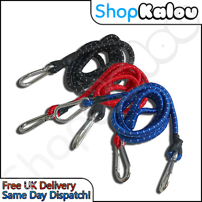 HEAVY DUTY 150cm BUNGEE STRAPS STRAP CORDS CARABINER HOOK ELASTIC ROPE CAMPING
