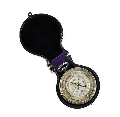 French Bourgeois Opt.N Pocket Thermometer Compass Barometer Nickel 19th century