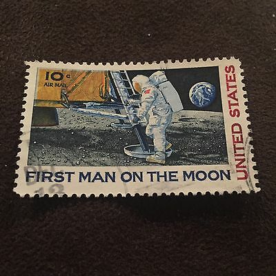 First Man On The Moon Stamp USA United Stated Neil Armstrong Apollo 11