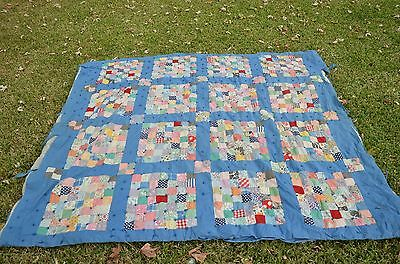"Antique Vintage Heirloom POSTAGE STAMP Quilt  72"" x 65"" each piece 2"" inch !"