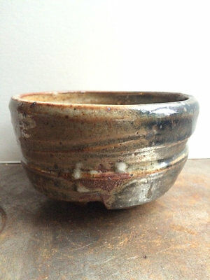 Antique Japanese Mingei Bizen Ware Pottery Chawan Tea Bowl Cup Notched Foot