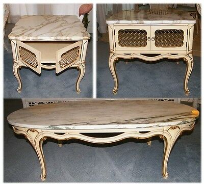 Vintage Marble Top French Provincial Style Furniture ( 1 Coffee U0026 2 End  Tables )