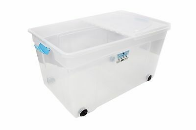 3 x 110 LITRE PLASTIC STORAGE BOX -MULTIPACKS STRONG BOX FOLDING LID CLIP/WHEELS