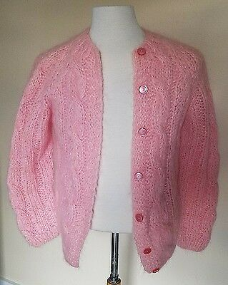 Vintage wool and mohair pink sweater hand made in Italy Carlo Knitting Mills
