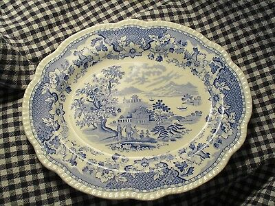 "Antique-Platter-""Seaforth""-Blue And White Transfer Ware -11"""
