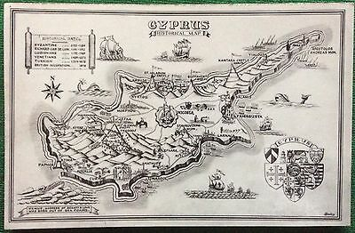 Vintage Postcard Size Photograph Of Cyprus Historical Map Byzantine To British