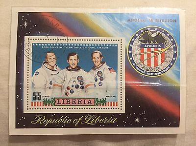 Apollo 16 Mission Stamp Republic Of Liberia, Young Mattingly Duke