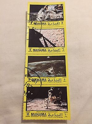 Manama Space Stamps Apollo 11, Apollo 12 Astronaut Moon Landing Moon Bug