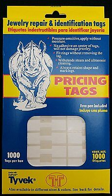 1000 Pcs White Price Tags Stickers 12mm Barbell Jewelry Display Rectangle Shape