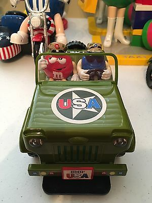Red and Blue M&M's Army Green Jeep Candy Dispenser Figurine -- Great Condition!