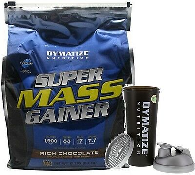 Dymatize Super Mass Gainer 5400 grams/ 12lb Muscle Mass Growth Free Shaker