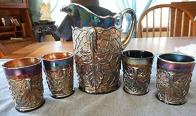 Dugan Amethyst Carnival Glass Maple Leaf Water Pitcher And Tumblers 5 Pcs
