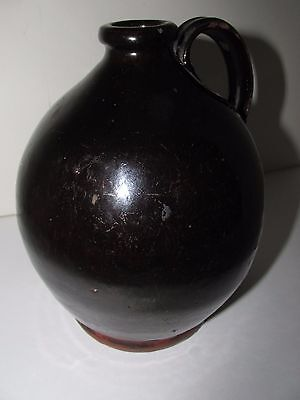 Antique Redware Jug, Ovoid, One Quart Volume, Circa 1820