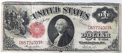 1917 $1 United States Note Teehee Burke Fr 36 Large Size bill Very Fine VF net