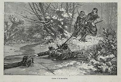 Dog Flat-Coated Retriever, Saved by Hunter on Ice, 1870s Antique Engraving Print