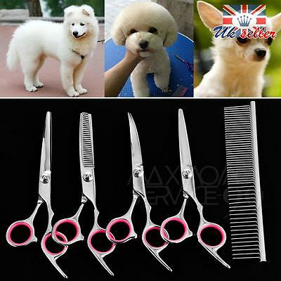 "6"" Professional Hair Cutting Scissors Pet Dog Grooming Kits Curved Shears Tool"