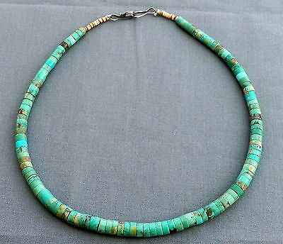Old Vintage Pueblo Green Turquoise & Shell Heishi Necklace