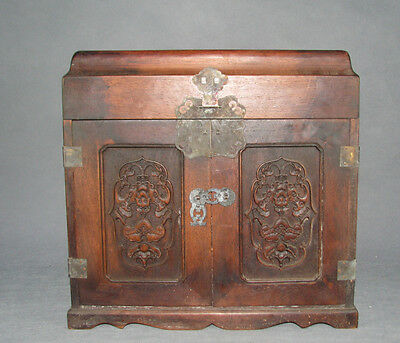 China old rosewood 2-door 5-drawer Cao-huali wood Cao-dragon fortune bat chest