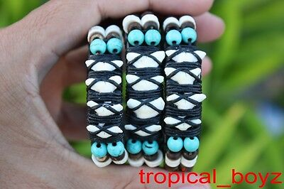 3 Multi SHARK TOOTH Coconut Artificial Turquoise Leather Bracelets Wholesale Lot