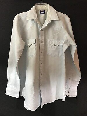Vintage Chute #1 Western Cowboy Shirt Baby Blue Snap Closing Size M