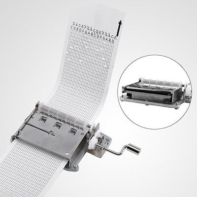 15 Note Hand Crank Music Box Movement + Puncher + 20 Strips Tape DIY Your Songs
