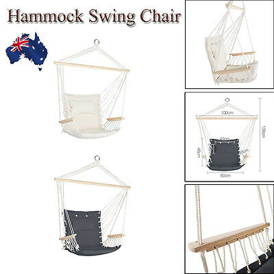 Hanging Hammock Armrest Chair+Cushion Swing Comfortable Outdoor Indoor Camping