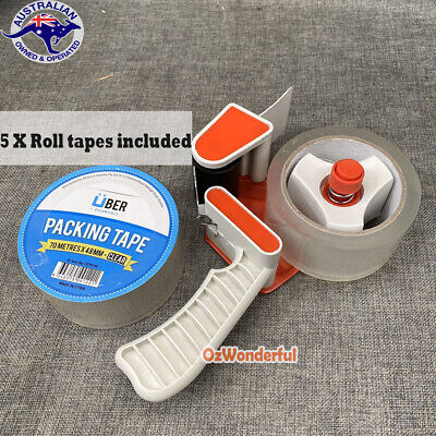 Heavy Duty Commercial Packing Tape Dispenser Gun + 5 Roll Tapes Included Package