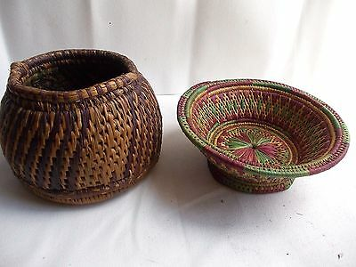 Vintage Beautiful and Unique Hand Made Bamboo Pot and Basket